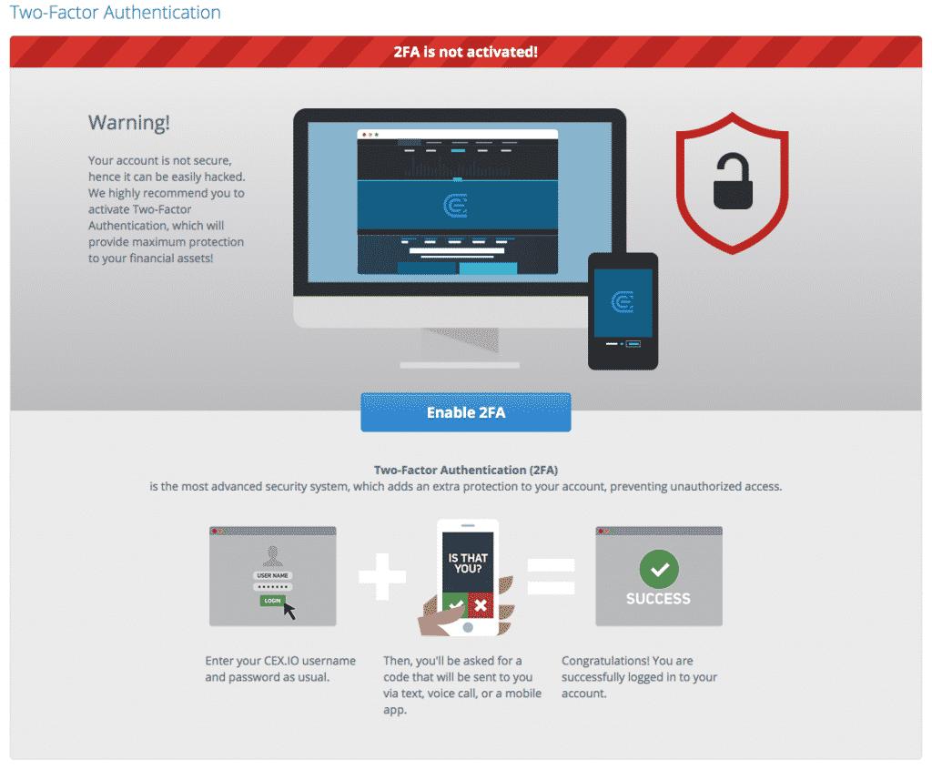 2FA verification screen shot on cex.io