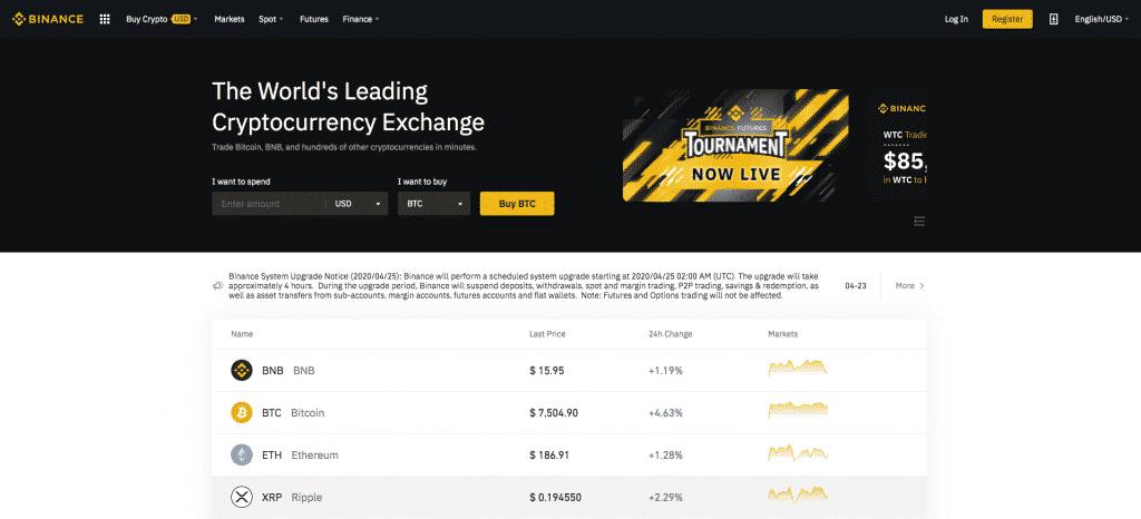 binance exchange screenshot