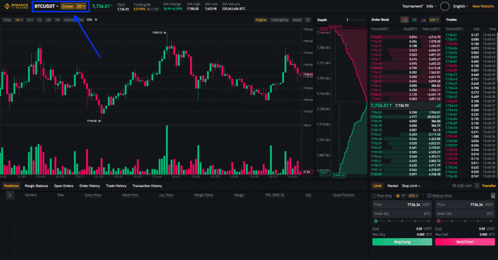 binance leverage trading screenshot