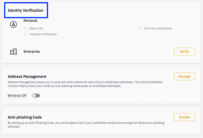 binance idetification screenshot