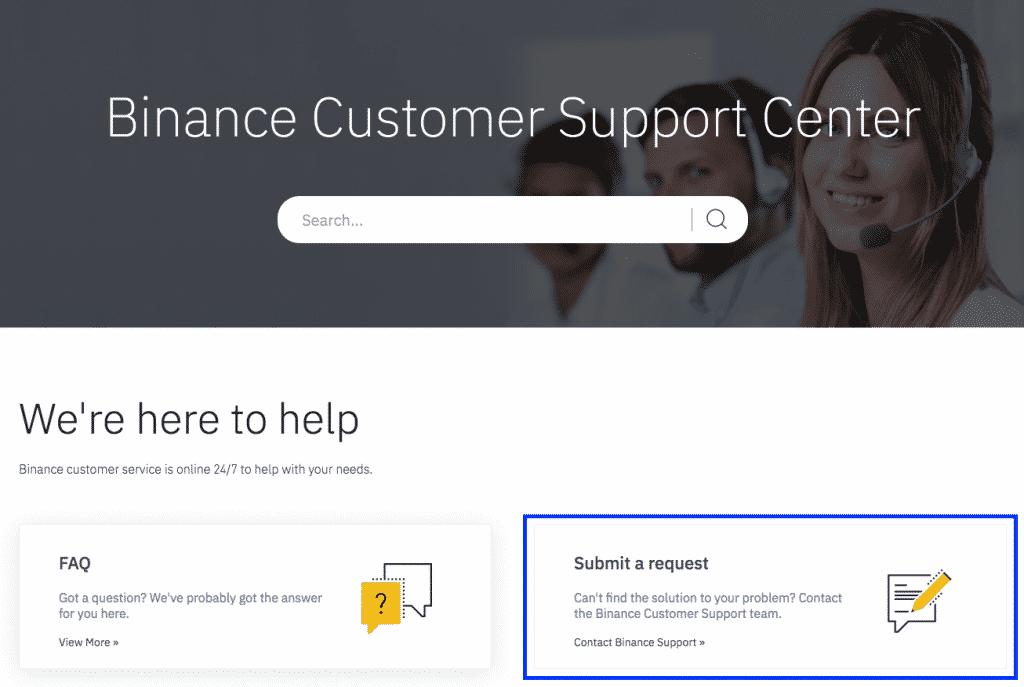 binance support screenshot