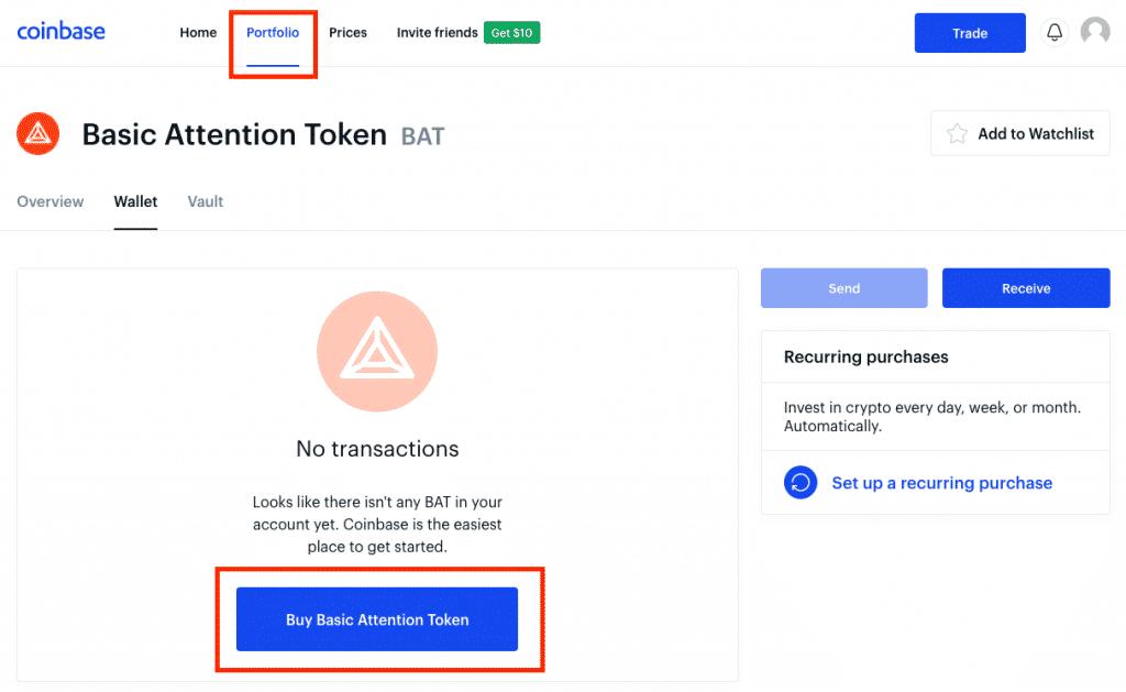 coinbase portfolio screenshot