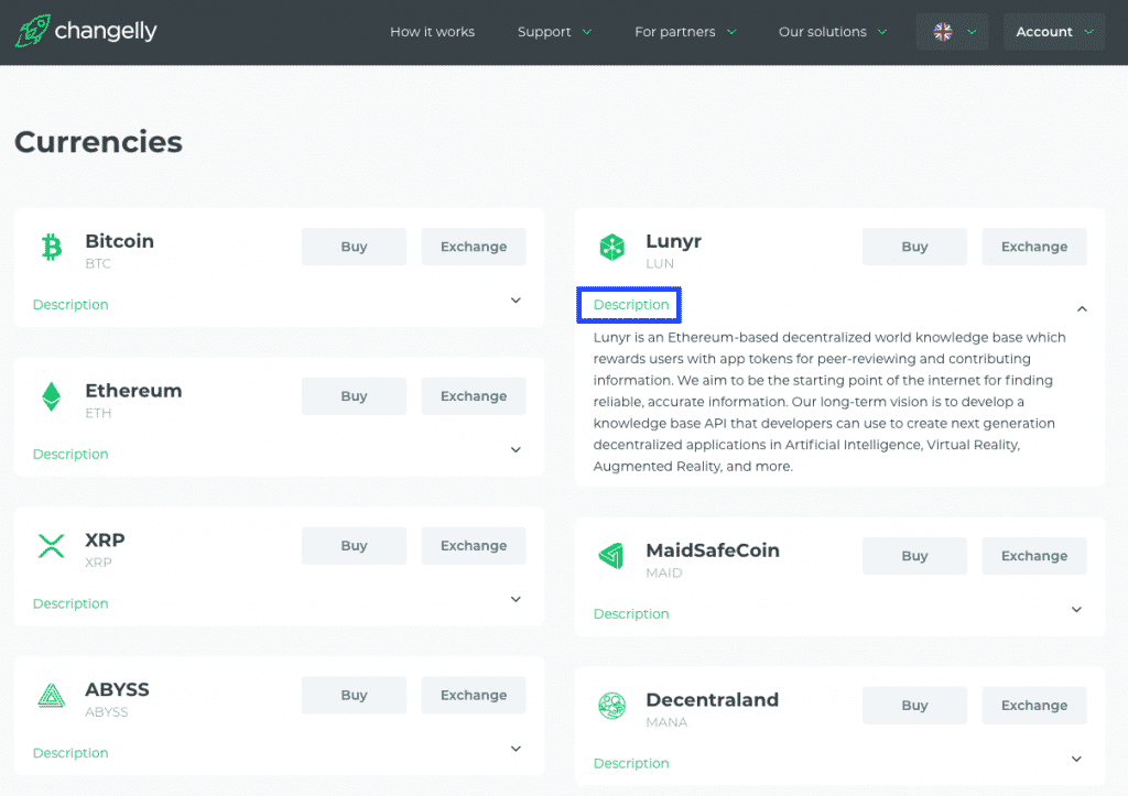 changelly altcoin description screenshot