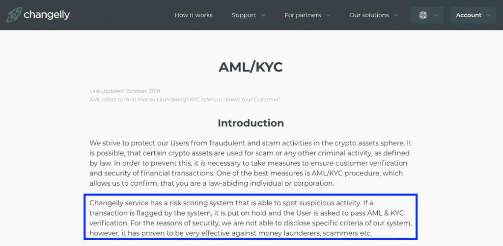 KYC info on changelly screenshot