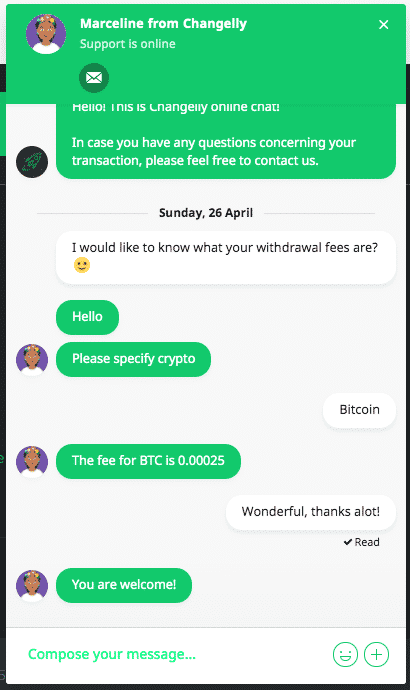 changelly live chat screenshot