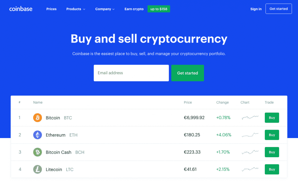 coinbase landing page screenshot