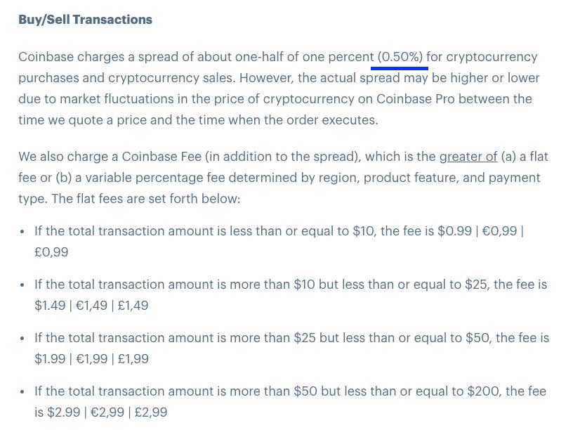 coinbase buy and sell fee screenshot