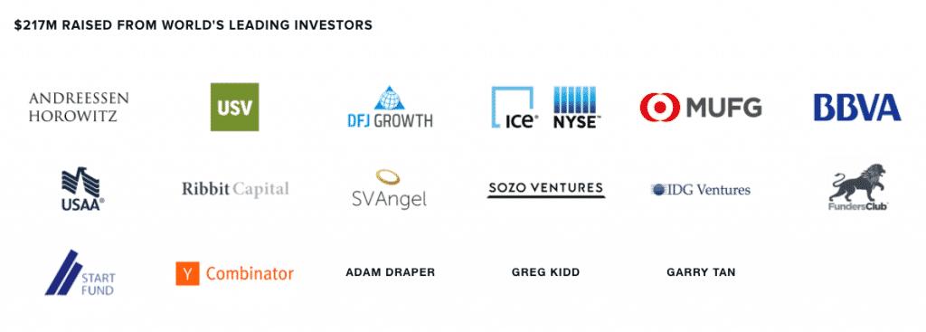 screenshot of coinbase investors