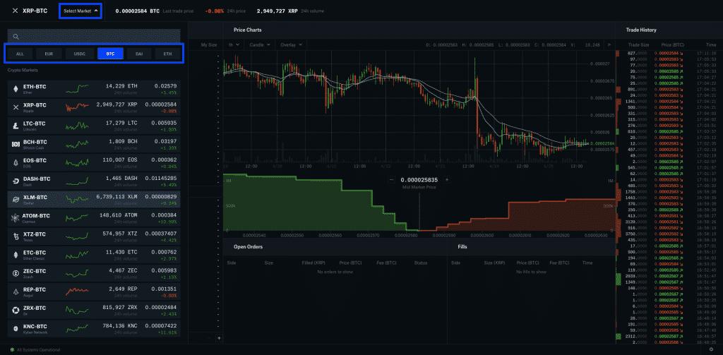 coinbase trading interface screenshot