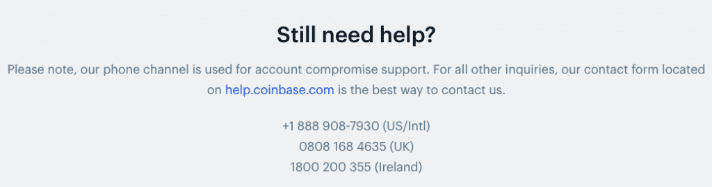 coinbase support section screenshot