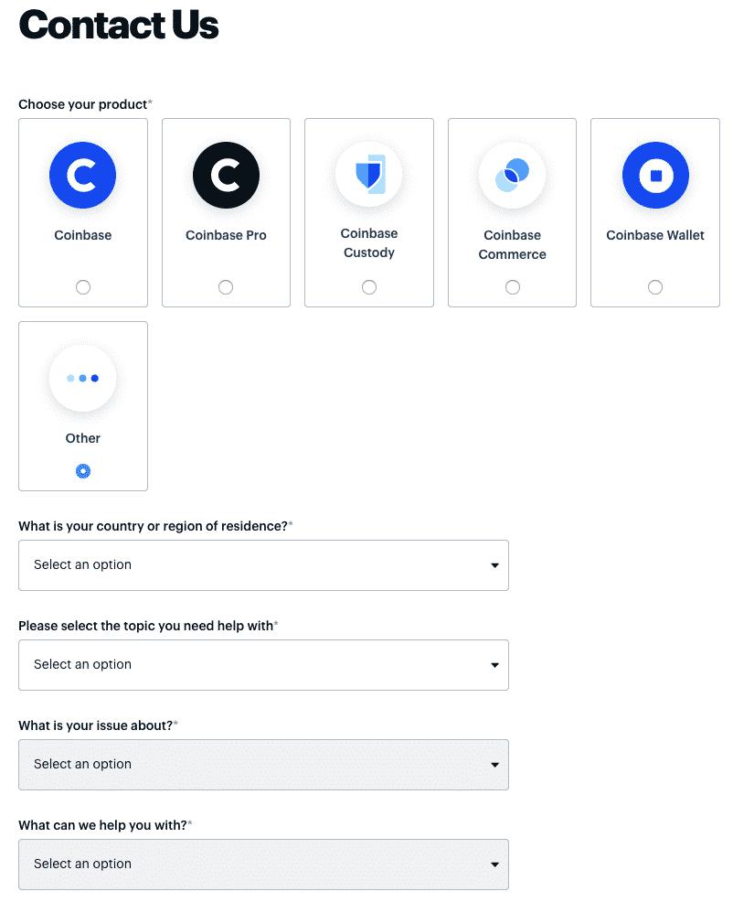 coinbase contact form screenshot
