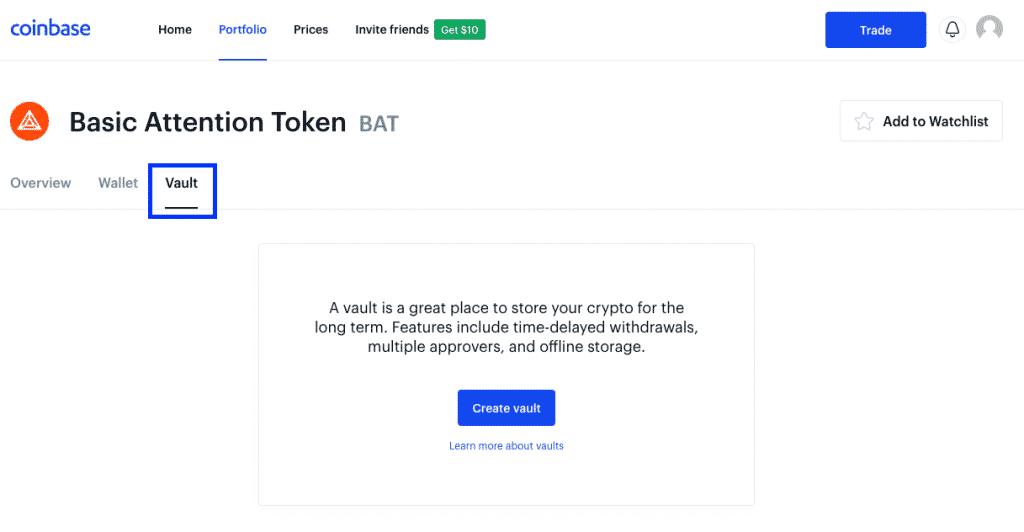 coinbase vault section screenshot