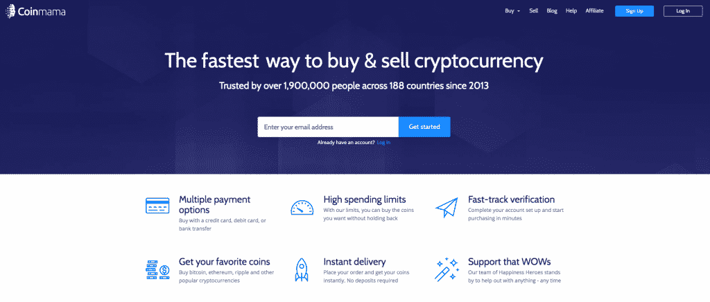 landing page on coinmama screenshot