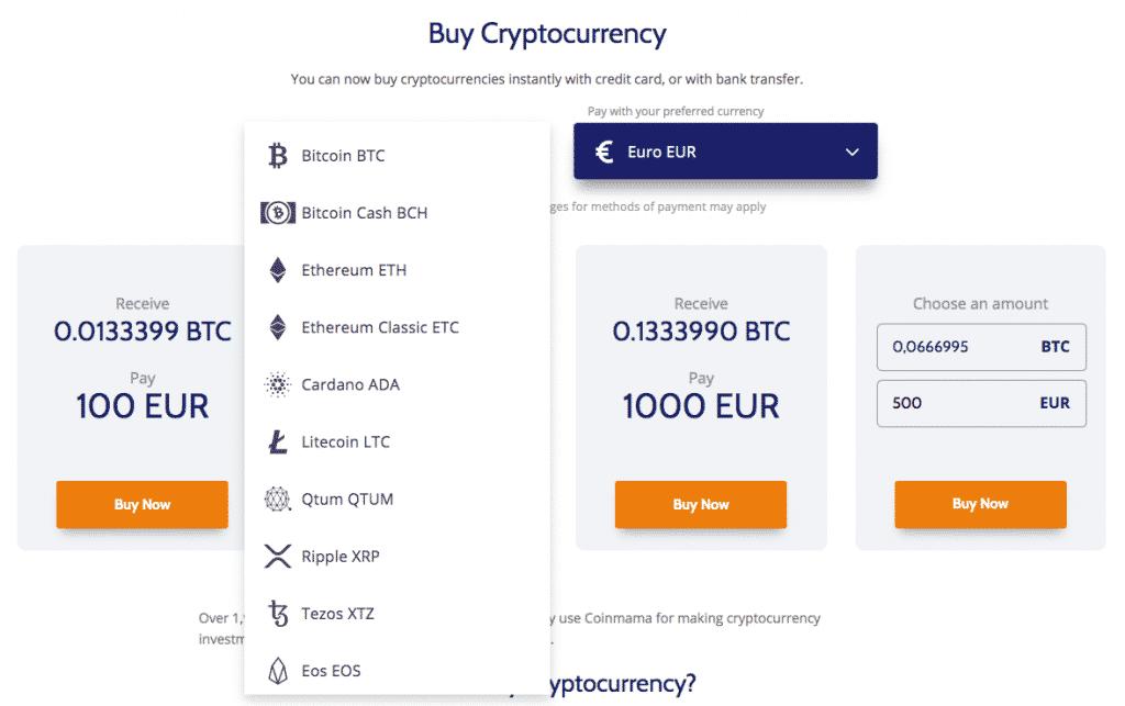altcoin list screenshot on coinmama