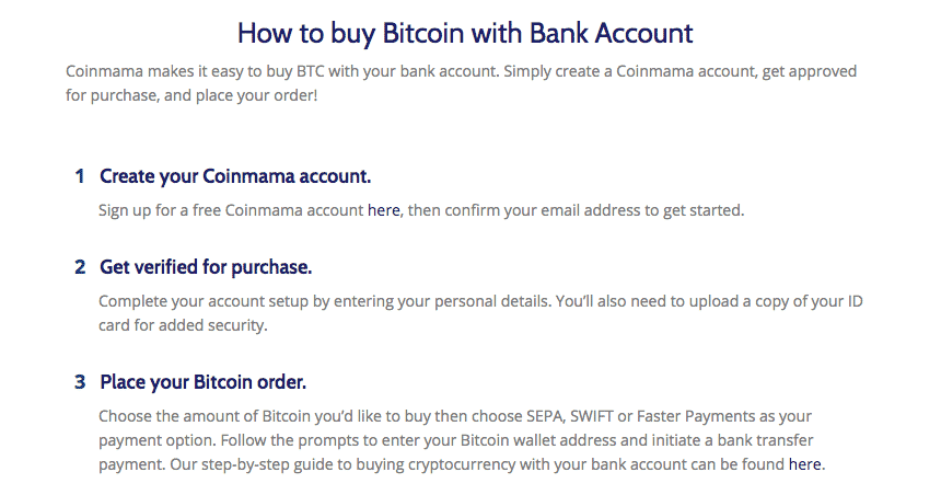 bank account section screenshot on coinmama