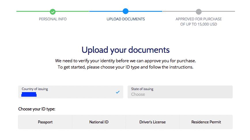 KYC form screenshot on coinmama