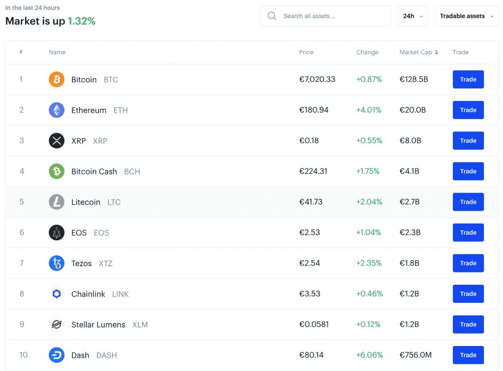 altcoin list coinbase screenshot
