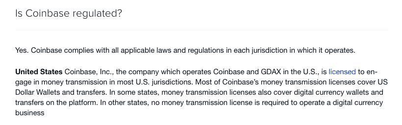 coinbase regulation screenshot