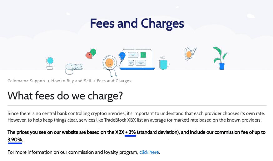 fee information screenshot on coinmama