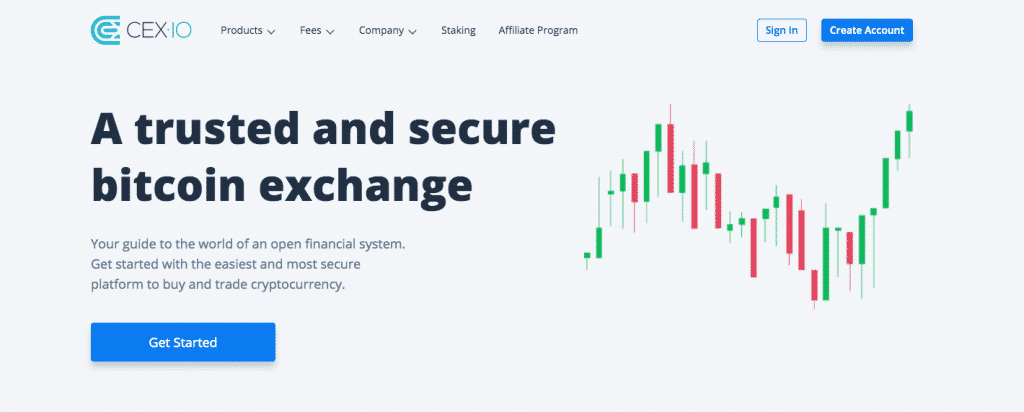 landing page screenshot of cex.io