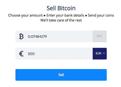 sell function screenshot on coinmama