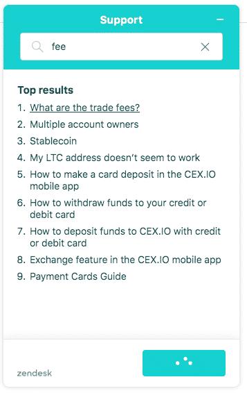 cex.io support screenshot