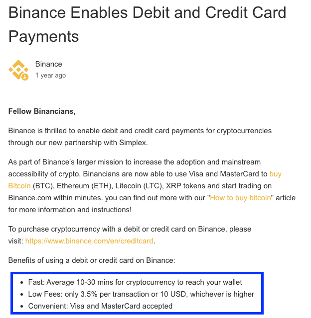 credit card fees on binance screenshot
