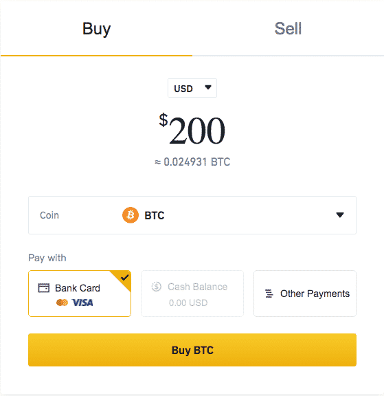 buy and sell crypto with credit card binance screenshot