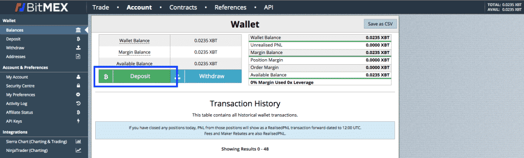 bitmex bitcoin wallet screenshot