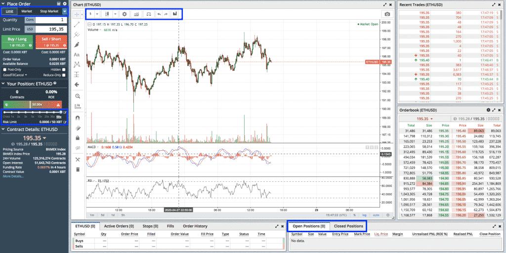 trading interface crypto exchange bitmex screenshot