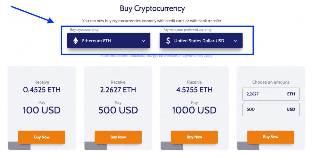 buy crypto with credit card section on  coinama exchange screenshot