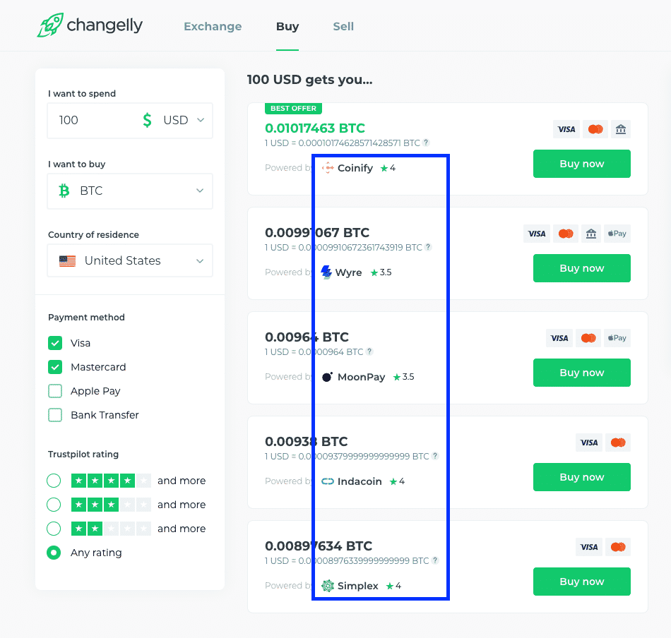 changelly payment vendors screenshot