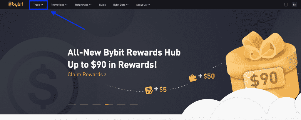 Bybit crypto exchange leverage tradin first page screenshot