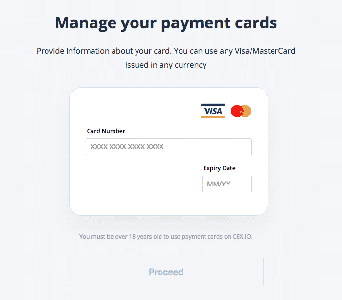 card details seciton on cex.io screenshot