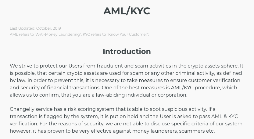 credit card changelly exchange aml form sreenshot