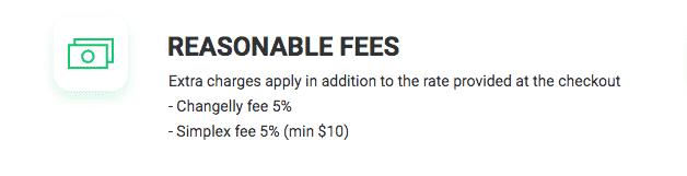 changelly fee structure screenshot