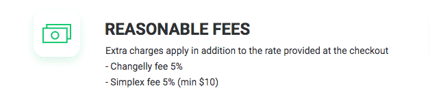 changelly credit card fees screenshot