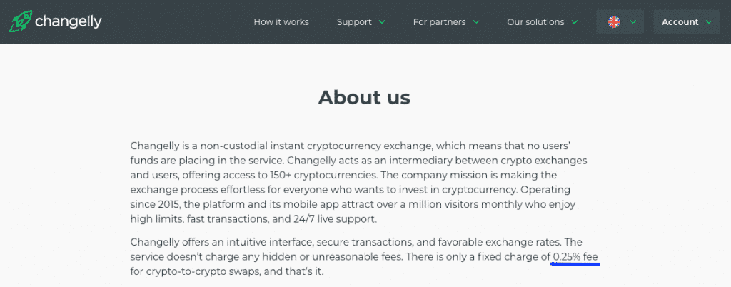 changelly trading fees