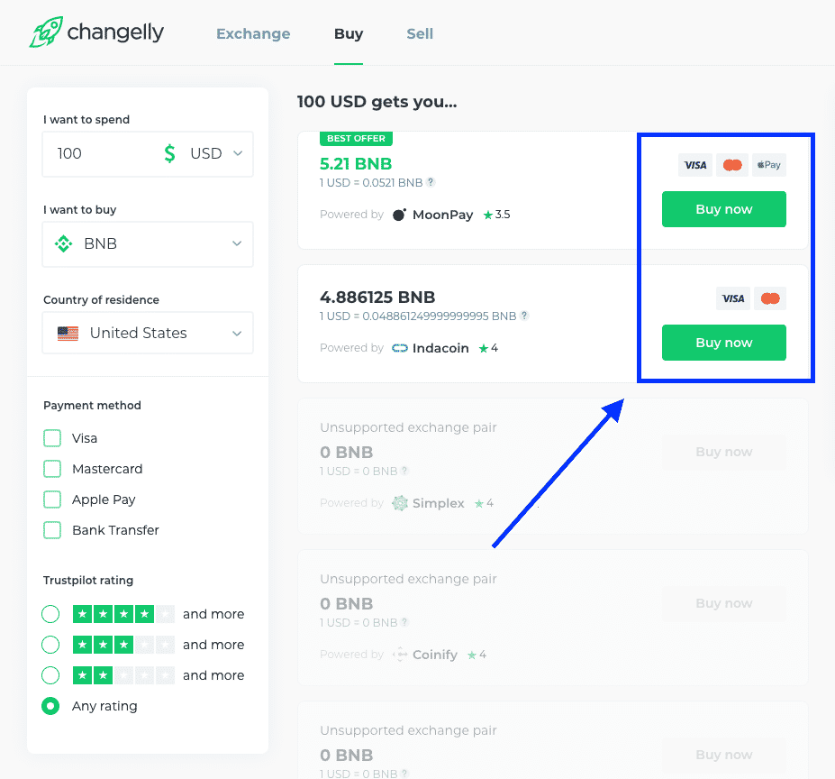 buy crypto with credit card on changelly screenshot