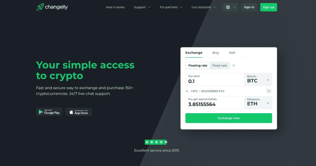 changelly platform first page