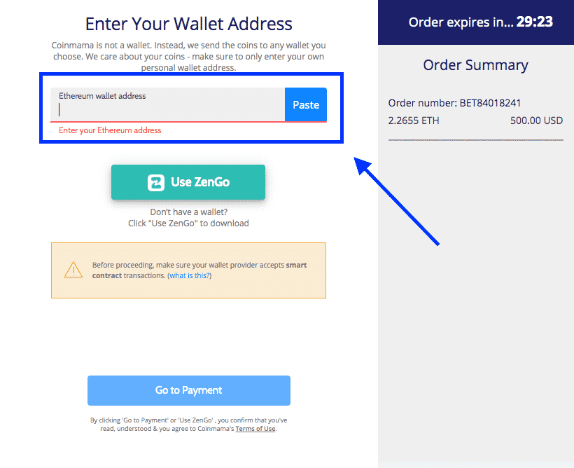 payment confirmation screenshot on coinmama