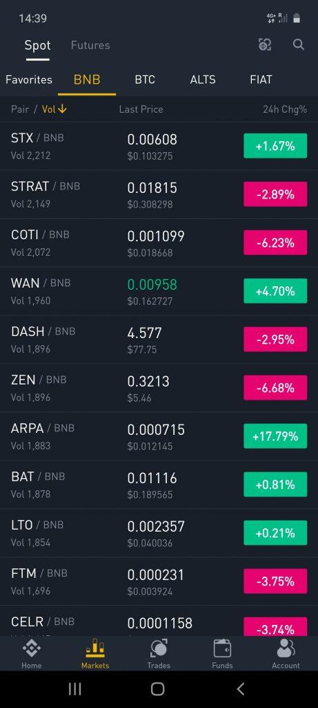 binance app market screenshot