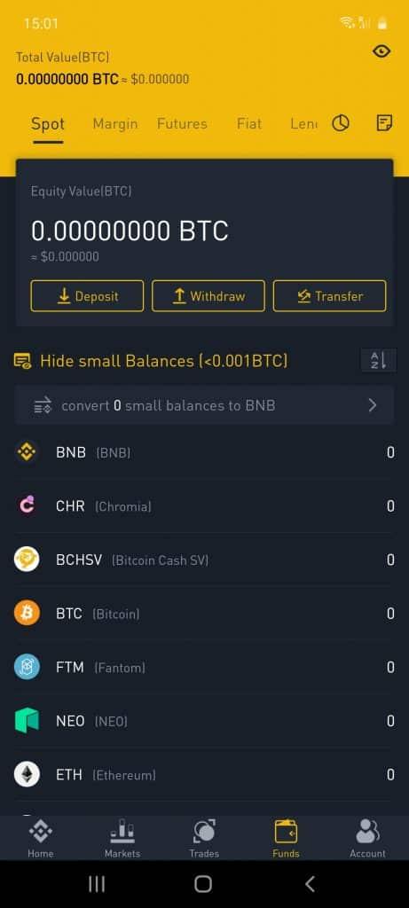 binance crypto app deposit method