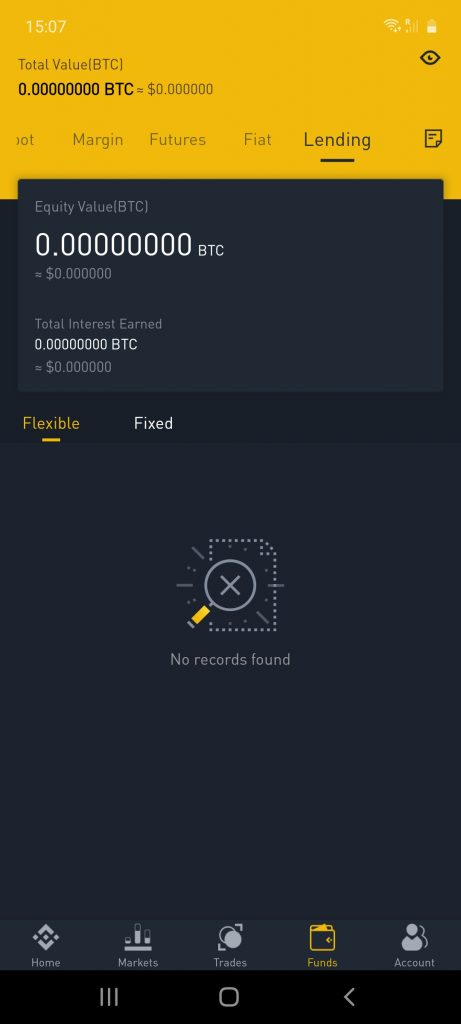 binance app trading interface