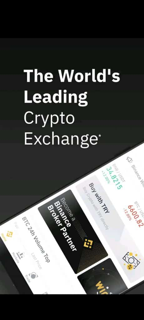 Binance crypto trading app first page