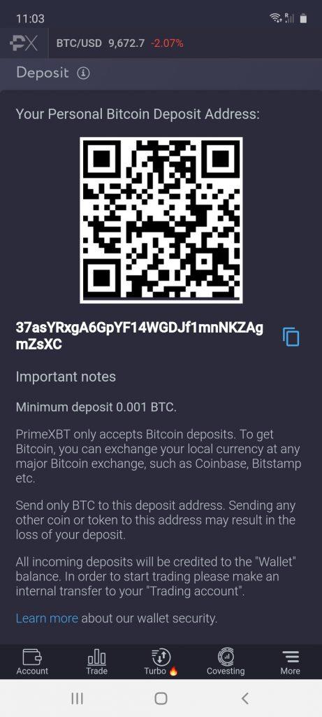 deposit methods on prime xbt app