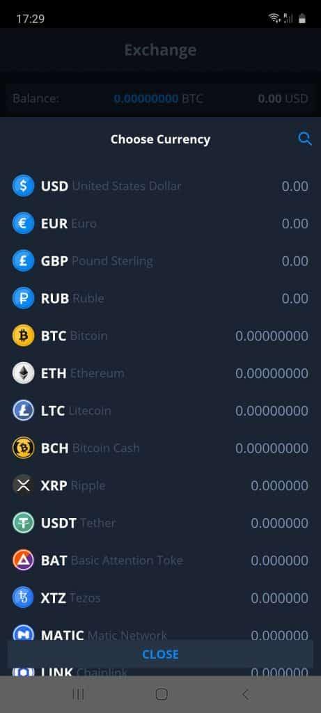 cex.io app trading interface