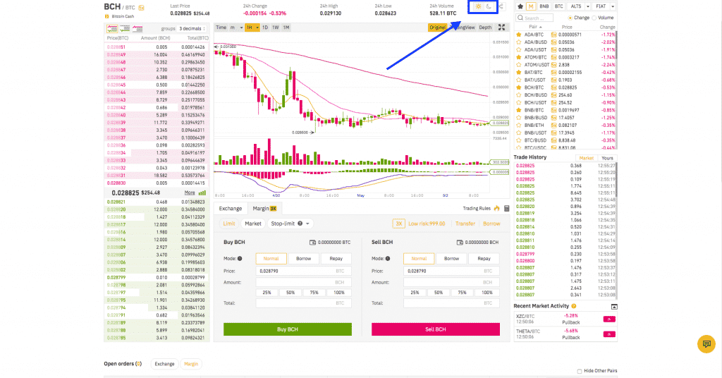 binance bright style trading interface screenshot