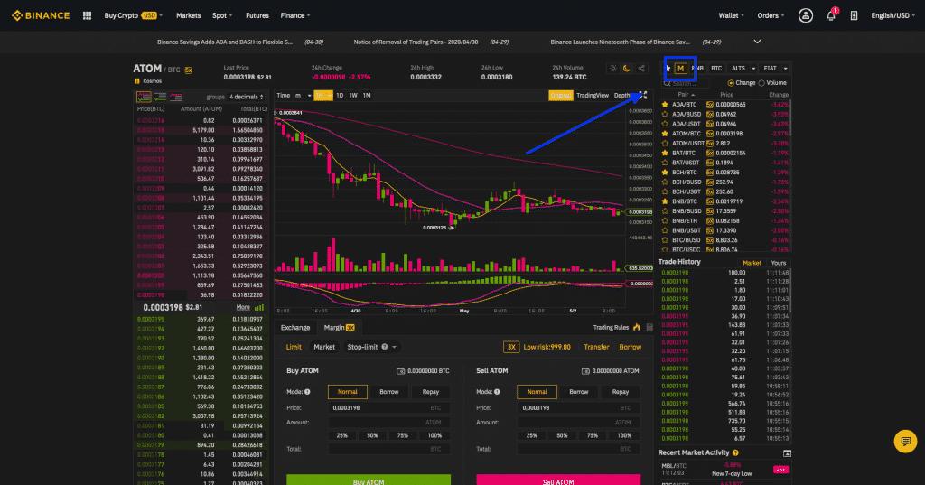binance crypto margin interface screenshot