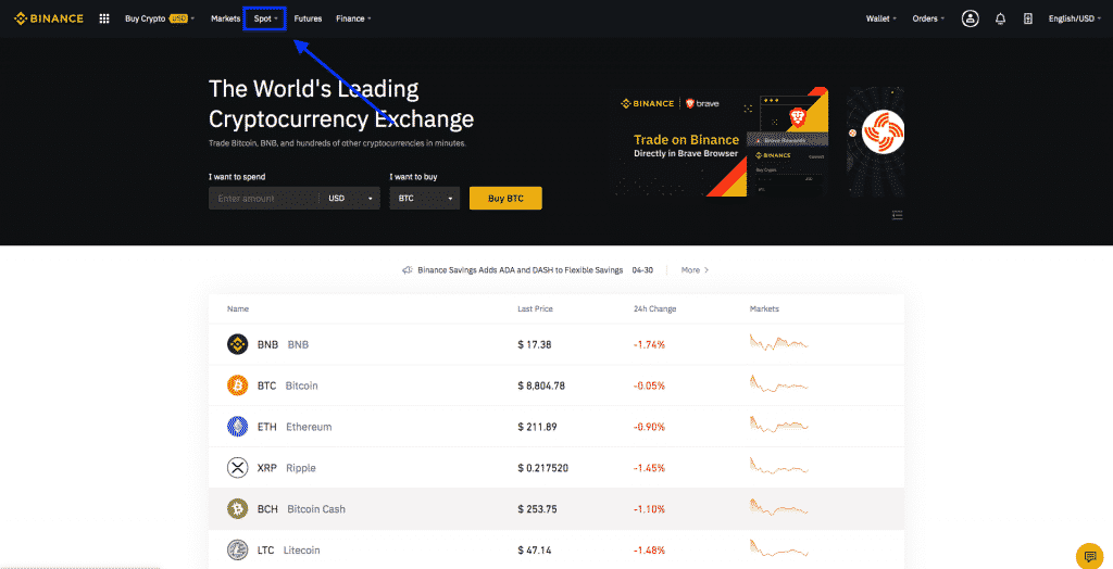 binance trade button screenshot